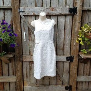 Milly New York White Sleeveless Dress Silk Sheath